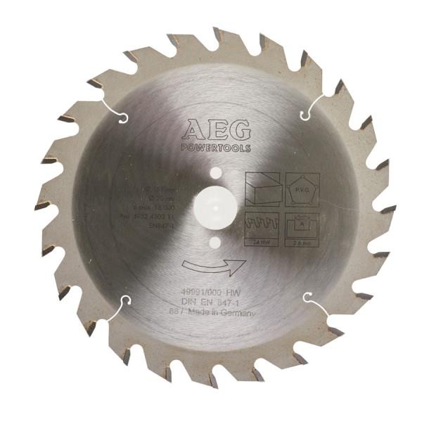 Panza AEG pentru fierastrau circular portabil, dimensiuni 165x20xz24, grosime 2,6mm, pentru materiale lemnoase